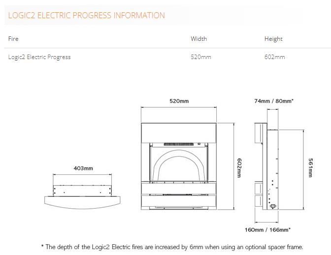 Gazco Logic2 Progress Electric Fire Sizes